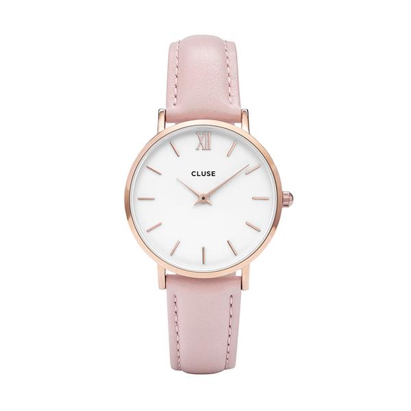 Zegarek damski cluse minuit rose gold white pink cl30044