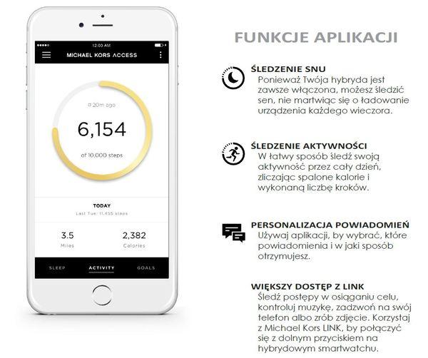 Smartwatch hybrydowy michael kors zegarek damski funkcje aplikacji