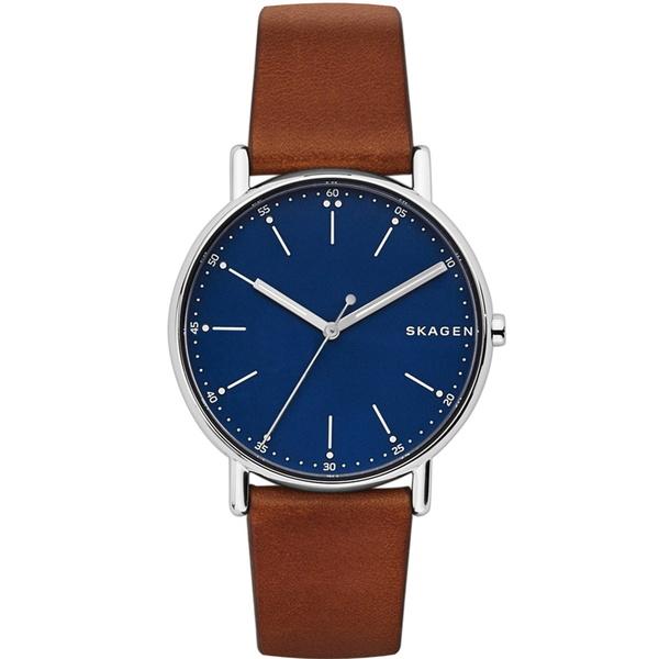 Zegarek m%c4%99ski skagen signatur br%c4%85zowy pasek niebieska tarcza skw6355