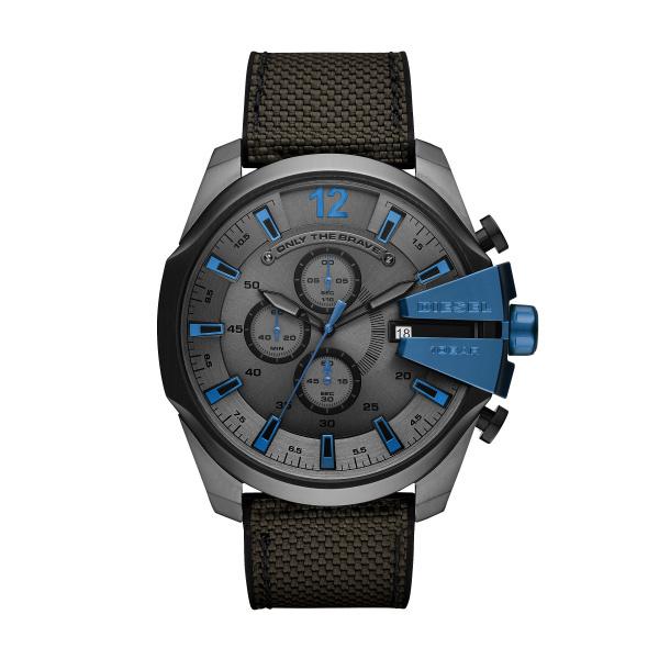 Zegarek diesel mega chief czarny z niebieskim pasek nylonowy dz4500