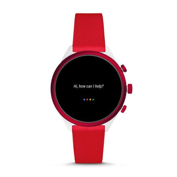 Smartwatch fossil sport czerwony ftw6052 google assistant