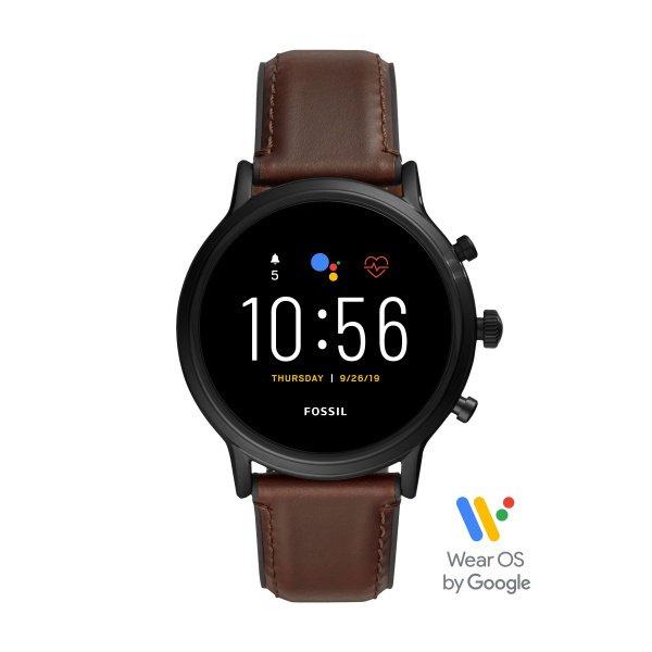 Najnowszy smartwatch fossil meski 5 generacja brazowy pasek ftw4026