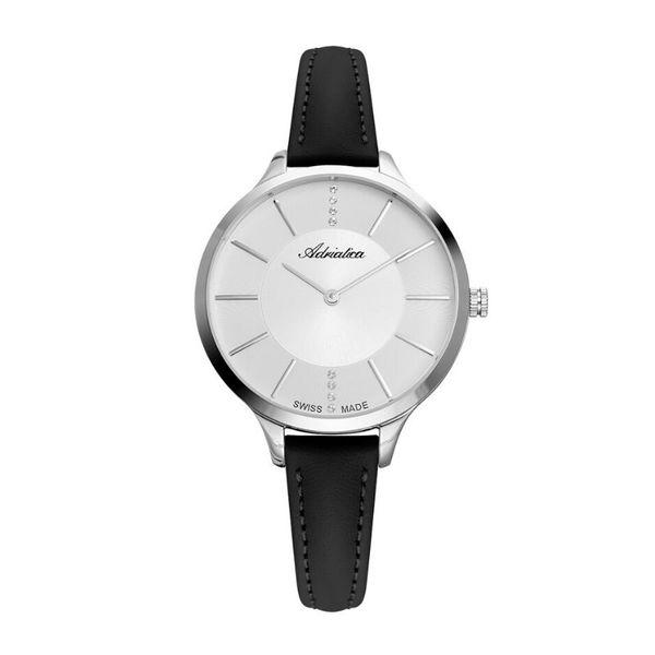 Zegarek damski adriatica na czarnym pasku srebrny a3433.5213q