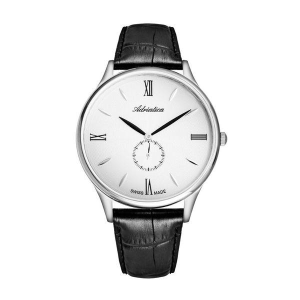 Zegarek meski adriatica na czarnym paski srebrny a1230.5263qxl