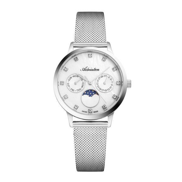 Zegarek damski adriatica srebrny z fazami ksiezyca a3174.514fqf