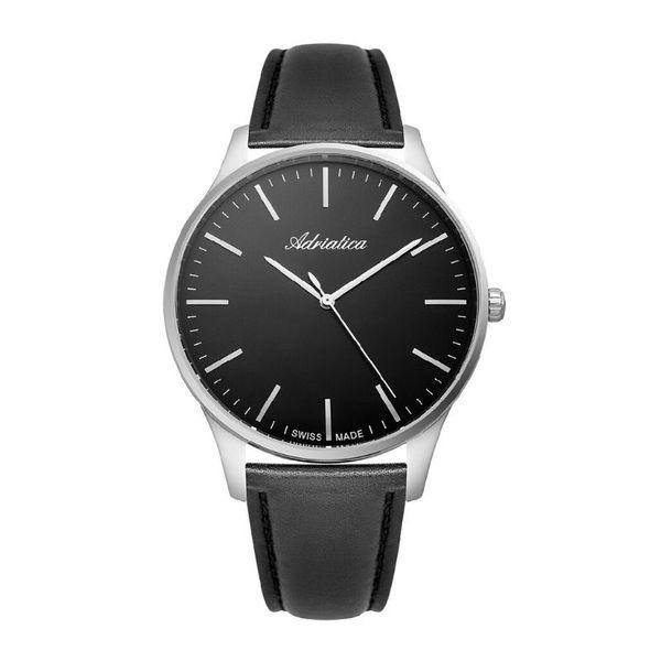 Zegarek meski adriatica srebrny na czarnym pasku z czarna tarcz a1286.5214q