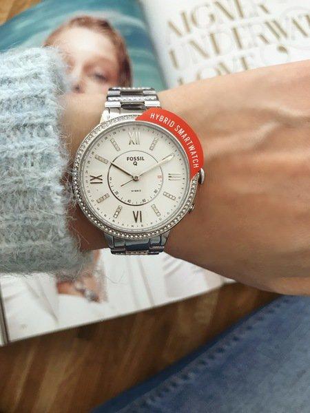 Zegarek hybrydowy fossil srebrny damski ftw5009