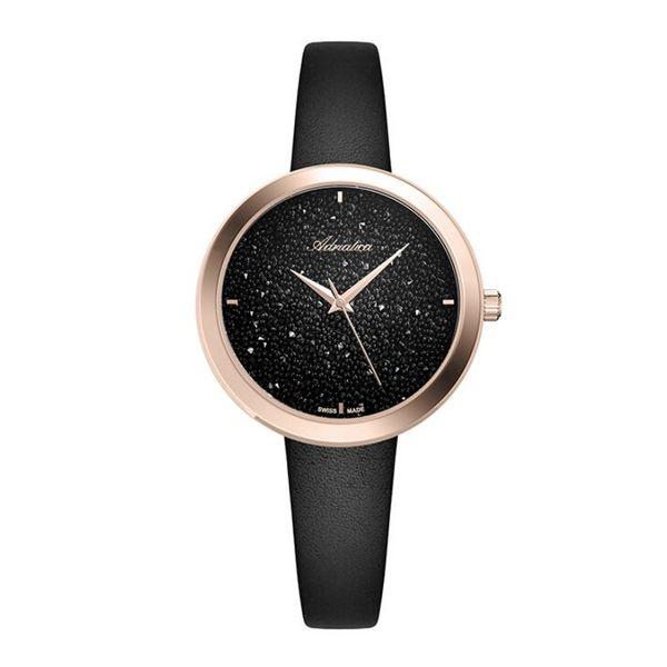 Zegarek damski adriatica czarna tarcza z krysztalkami a3646.9214q