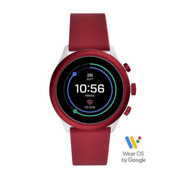 Smartwatch fossil sport czerwony bordowy damski meski ftw4033