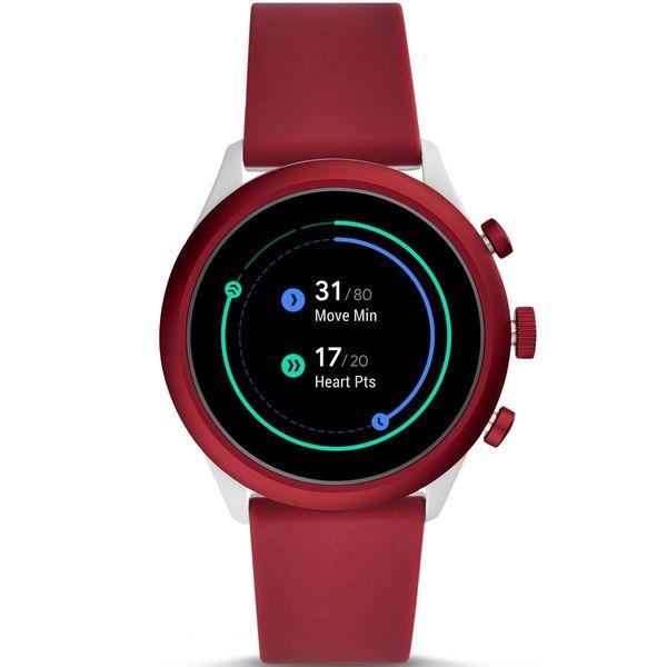 Smartwatch fossil sport czerwony bordowy damski meski ftw4033 aktywnosc