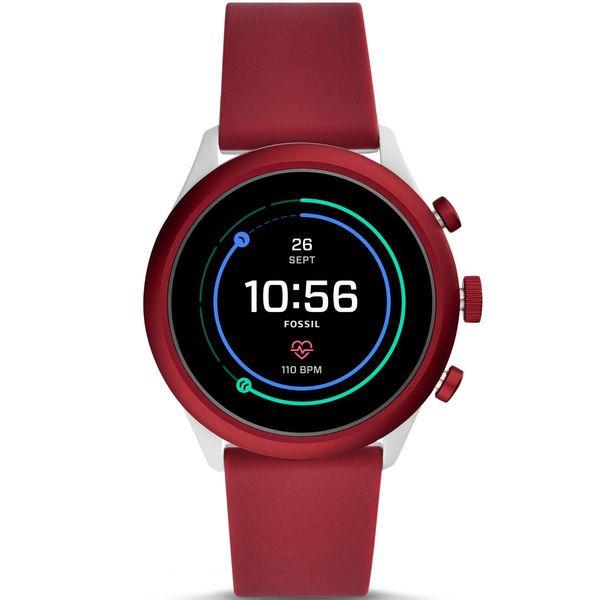 Smartwatch fossil sport czerwony bordowy damski meski ftw4033 pomiar tetna