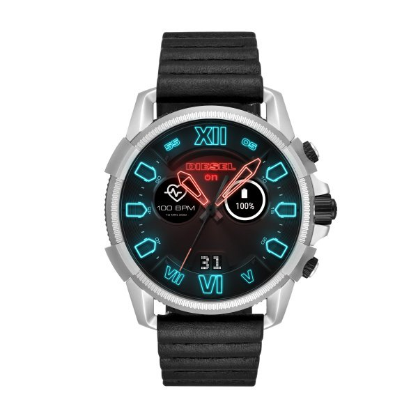 Smartwatch diesel z czarnym paskiem srebrna koperta dzt2008