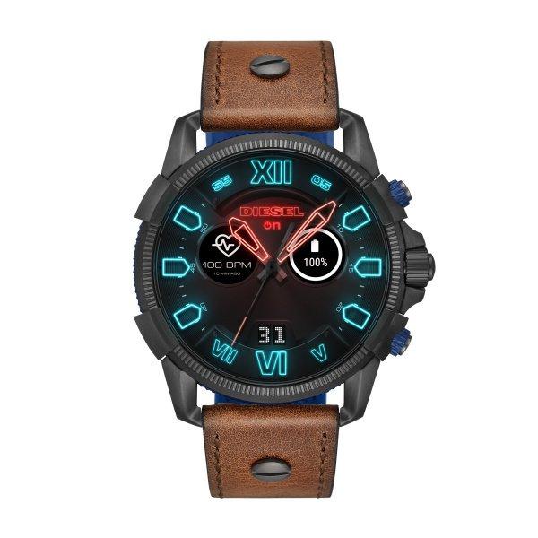Smartwatch diesel z brazowym paskiem czarna koperta dzt2009
