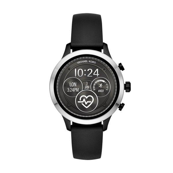 Smartwatch michael kors autoryzowany sklep srebrny z czarnym paskiem runway mkt5049