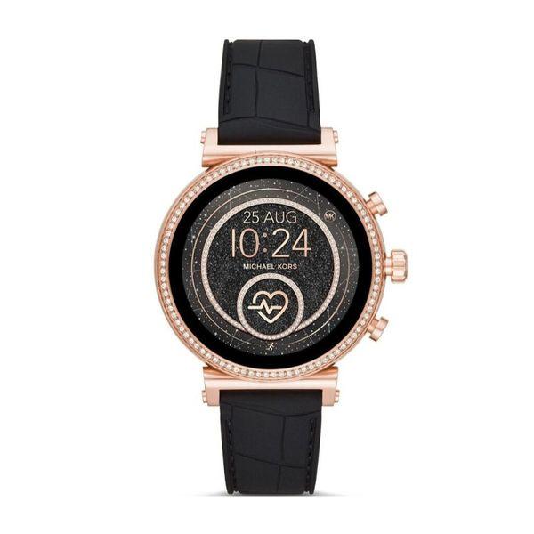 Smartwatch michael kors na czarnym pasku rose gold r%c3%b3%c5%bcowe z%c5%82oto z brylancikami sofie mkt5069