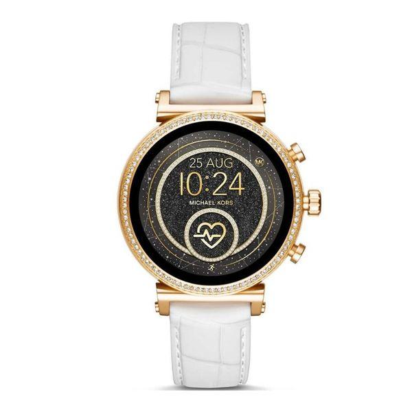 Smartwatch michael kors na bialym pasku zloty z brylancikami sofie mkt5067 platnosc zegarkiem