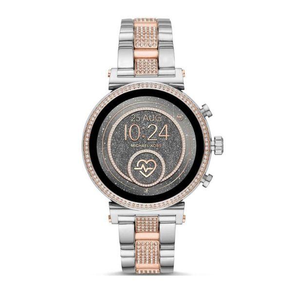 Smartwatch micael kors na bransolecie dwa kolory srebrny rose gold bransoleta z kamieniami cyrkonie sofie mkt5064