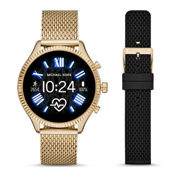 Oryginalny smartwatch michael kors zloty na bransolecie z czarnym paskiem mkt5113