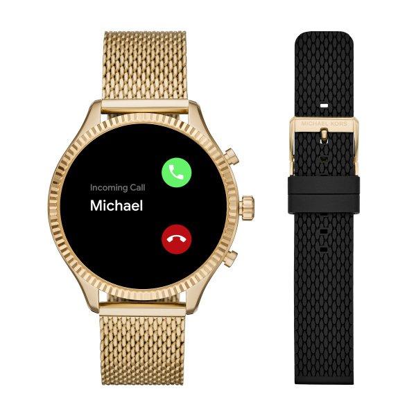Zloty smartwatch michael kors mk z dodatkowym czarnym paskiem rozmowa przez zegarek mkt5113 funkcje
