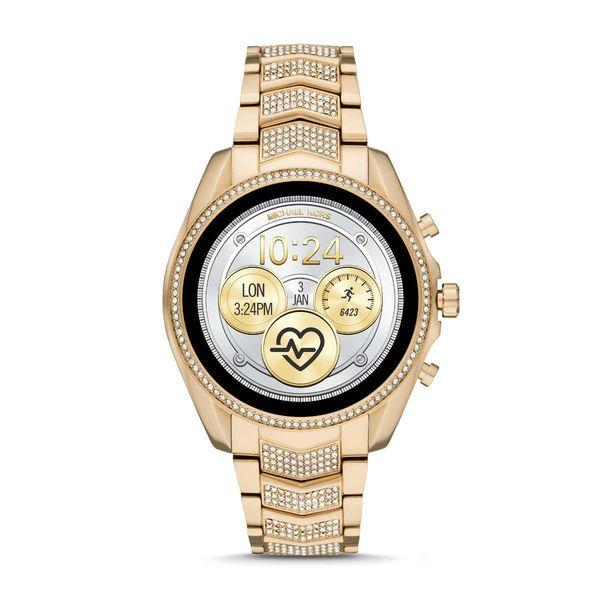 Zloty smartwatch michael kors na bransolecie z krysztalkami mkt5115 gwarancja oryginalnosci autoryzowany sklep bradshaw zmiana tarczy