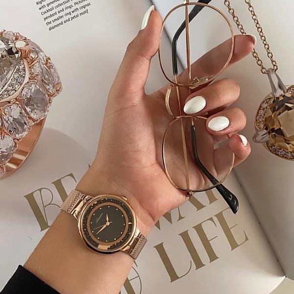 Zegarek damski adriatica z czarnymi kamieniami czarna tarcza z masy per%c5%82owej a3720.914mqz rose gold orygina%c5%82
