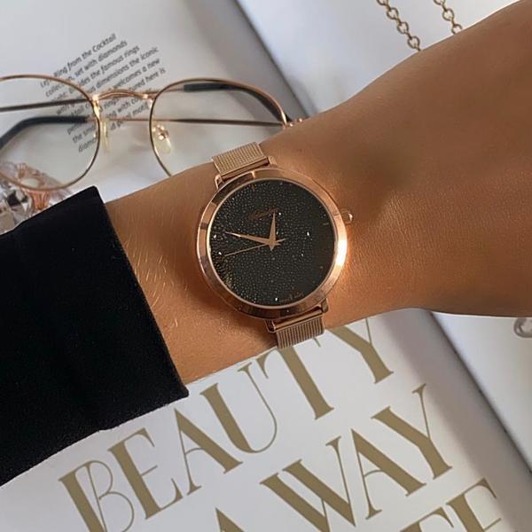 Zegarek adriatica damski tarcza z czarnych kryszta%c5%82k%c3%b3w na bransolecie rose gold a3787.9114q
