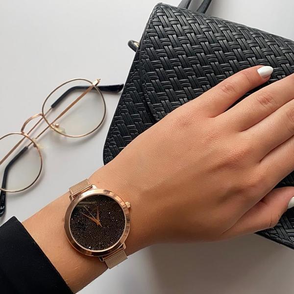 Zegarek adriatica damski tarcza z czarnych krysztalkow na bransolecie rose gold a3787.9114q
