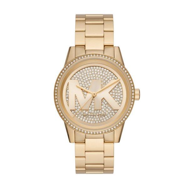 Zegarek michael kors z%c5%82oty na bransolecie z logo i kryszta%c5%82kami mk6862