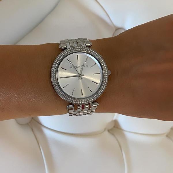 Srebrny zegarek damski michael kors mk3190 mk3190 na bransolecie z diamencikami autoryzowany sklep michael kors okr%c4%85g%c5%82a tarcza