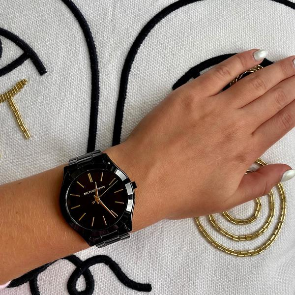 Czarny damski zegarek michael kors kolekcja slim runway black mk3221 mk3221 czarna tarcza na bransolecie autoryzowany sklep michael kors