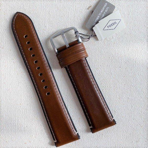 Pasek do smartwatcha fossil brazowy skorzany zegarka 22 mm samodzielne zmienianie s221299