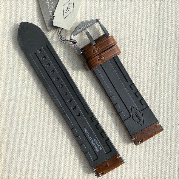 Oryginalny pasek do smartwatcha fossil brazowy skorzany zegarka 22 mm samodzielne zmienianie s221299