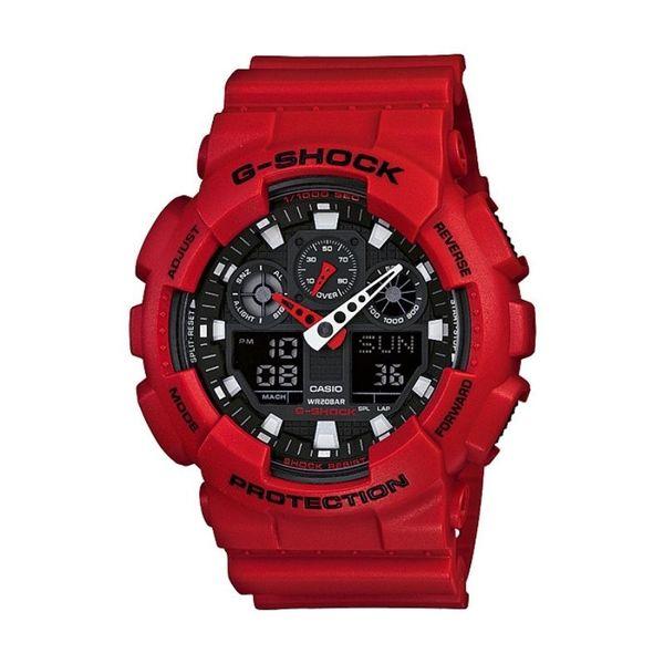 M%c4%99ski zegarek g shock casio ga 100b 4aer tarcza czarna ze wskaz%c3%b3wkami alarm stoper timer datownik czerwony pasek gwarancja orygina%c5%82 oryginalny autoryzowany sklep casio gshock ga 100b 4aer ga100b4aer