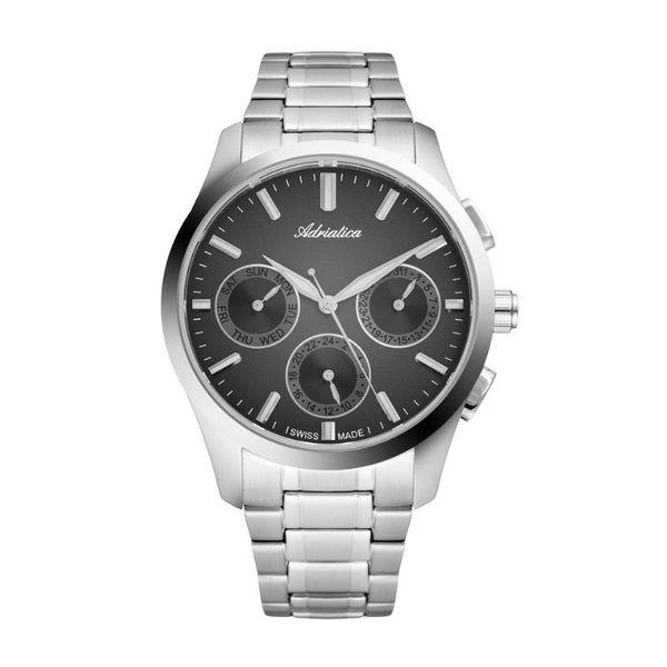 M%c4%99ski zegarek adriatica a8277.5114qf srebrny srebrna bransoleta czarna tarcza okr%c4%85g%c5%82a gwarancja swiss made autoryzowany sklep adriatica