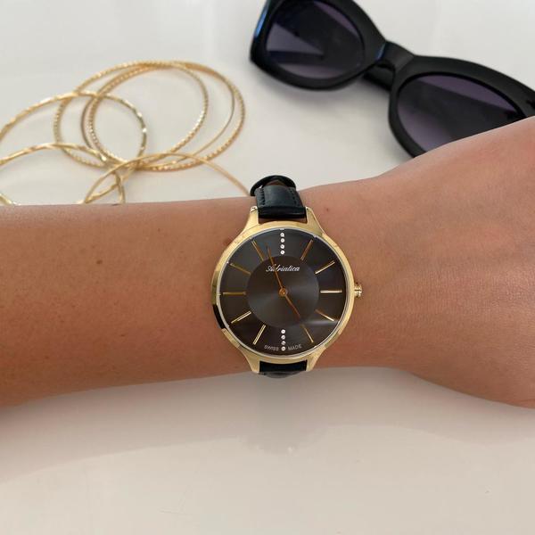 Zegarek adriatica z%c5%82oty czarna tarcza czarny pasek a3433.1216q zegarki adriatica sklep