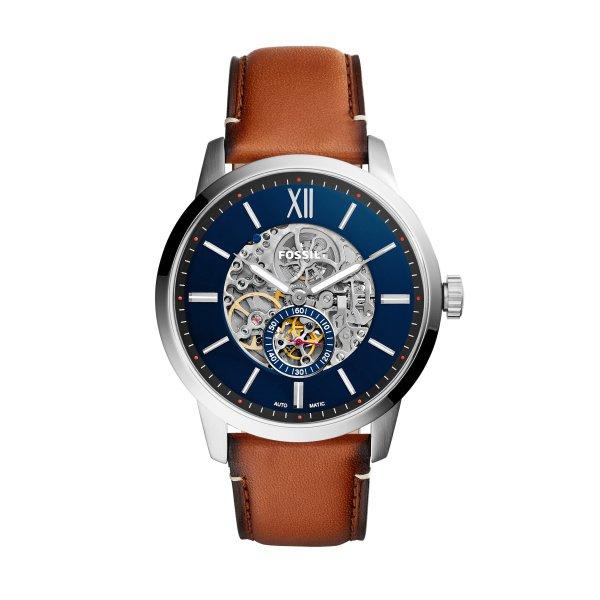 Zegarek meski fossil z widocznym mechanizmem automatyczny mechaniczny niebieska tarcza brazowy pasek me3154 autoryzowany sklep gwarancja orygina%c5%82