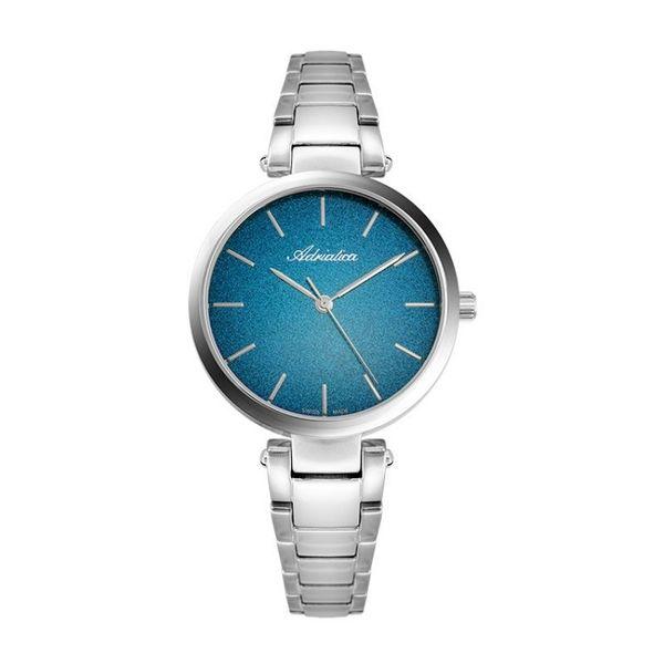 Zegarek damski adriatica z niebieska tarcz%c4%85 srebrny na branolecie a3773.5115q