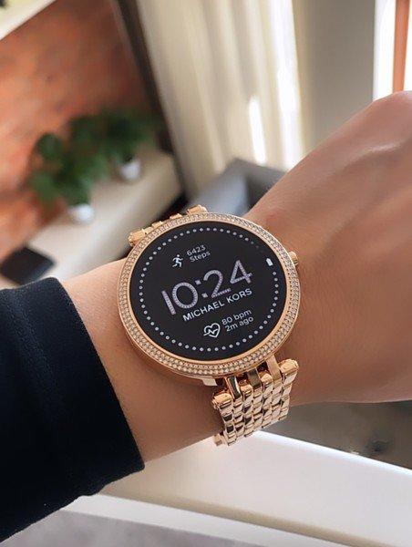 Smartwatch damski michael kors mkt5128 rose gold r%c3%b3%c5%bcowe z%c5%82oto 5 generacja najnowszy bransoleta nadgarstek