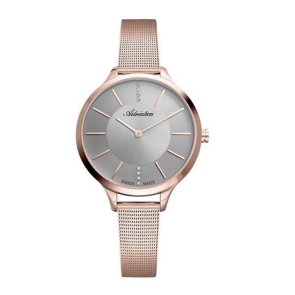 Zegarek damski adriatica rozowe zloto szara tarcza na btansolecie a3433.9117q