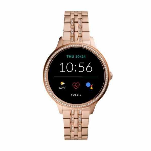 Smartwatch fossil ftw6073 rose gold z kryszta%c5%82kami