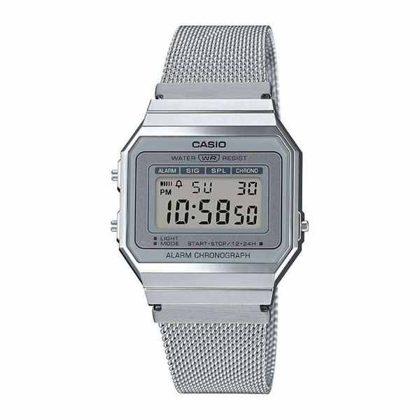 Zegarek casioelektroniczny vintage srebrny na bransolecie siateczkowej a700wem 7aef