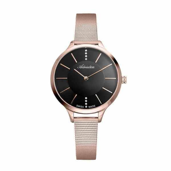 Zegarek damski adriatica z czarn%c4%85 tarcz%c4%85 na bransolecie rose gold a3433.9116q