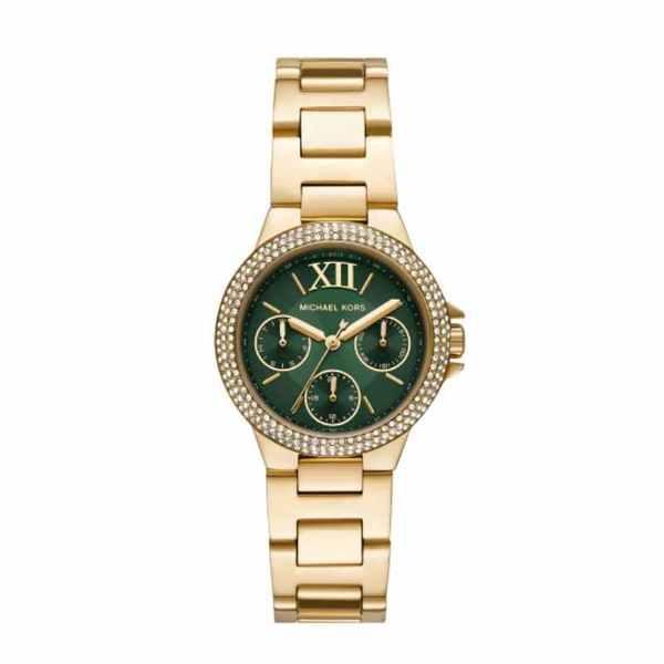 Z%c5%82oty zegarek michael kors z zielon%c4%85 tarcz%c4%85 i kryszta%c5%82kami mk6981 camille