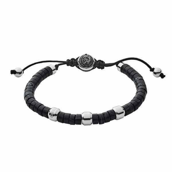 Czarna bransoleta diesel z kamieniami i srebrnymi elementami dx1121040