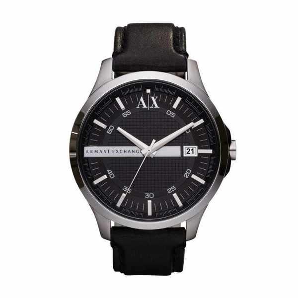 Zegarek armani na sk%c3%b3rzanym czarnym pasku ax2101 hampton
