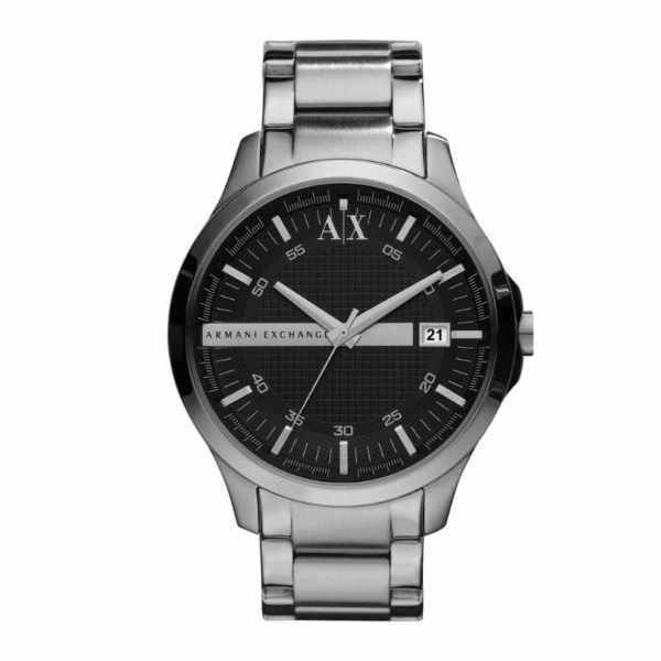 Ax2103 zegarek m%c4%99ski armani exchange na srebrnej bransolecie z czarn%c4%85 tarcz%c4%85