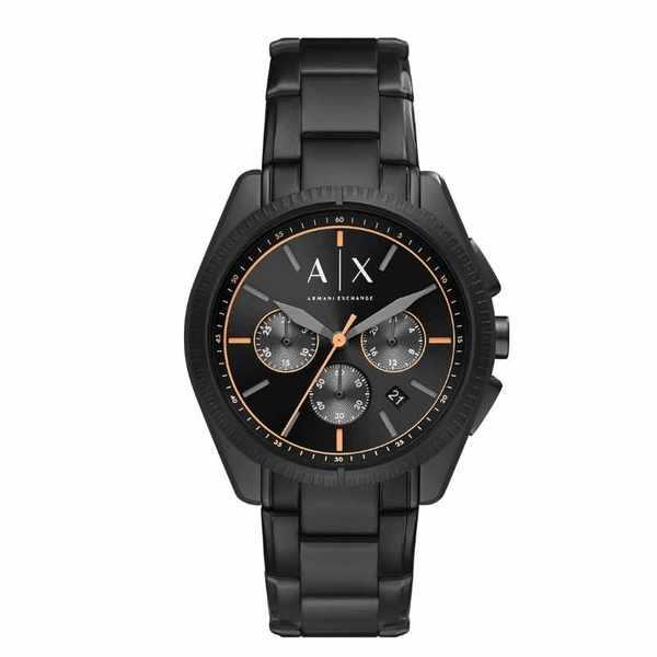 Czarny zegarek meski armani exchange na bransolecie z pomara%c5%84czow%c4%85 wskaz%c3%b3wk%c4%85 ax2852