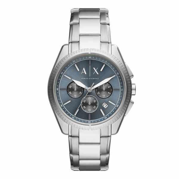 Zegarek m%c4%99ski armani exchange srebrny na stalowej bransolecie niebieska tarcza giacomo ax2850