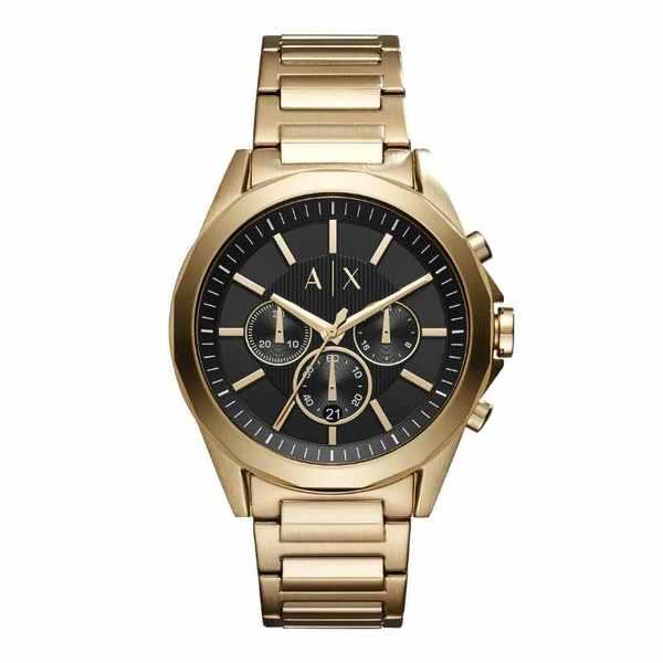 Ax2611 zegarek m%c4%99ski armani exchange z%c5%82oty na bransolecie z czarn%c4%85 tarcz%c4%85