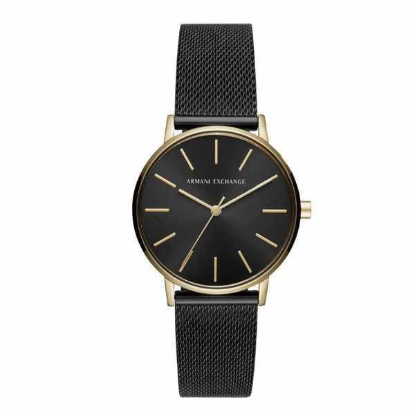 Ax5548 zegarek damski armani exchange czarno zloty